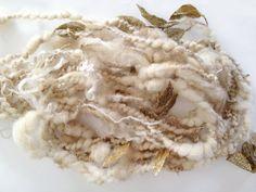 Jumbo Handspun Art Yarn  Boreas  Wool Mixed Fiber by 222Handspun, $38.00