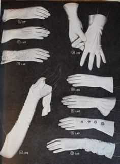 1940s white evening gloves