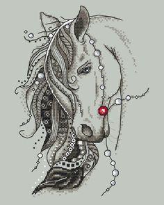 Beautiful horse with a feather - digital cross stich pattern, Gypsy horse PDF - Pferd Cross Stitch Horse, Cross Stitch Animals, Counted Cross Stitch Patterns, Cross Stitch Designs, Motifs Blackwork, Blackwork Embroidery, Cross Stitch Embroidery, Embroidery Patterns, Gypsy Horse