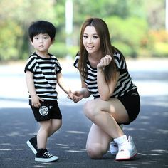 Cungmua - beautiful dress for mother and baby Mother Son Matching Outfits, Mom And Son Outfits, Family Outfits, Boy Outfits, Mommy And Son, Mom Daughter, Toddler Boy Fashion, Toddler Boys, Mother And Baby