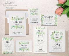 printable wedding invitation set printable greenery wedding invitation suite leafy wreath garden wedding calligraphy invite save the date by DesignYourLove on Etsy https://www.etsy.com/listing/500458163/printable-wedding-invitation-set