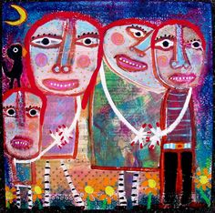 """Original Outsider Art painting:  """"Evening Stroll With The Gingers"""" aren't they a cute red haired family....enjoy!"""