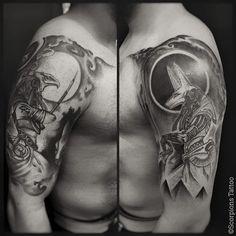 "206 Likes, 4 Comments - Scorpions Tattoo  (@scorpionstattoo) on Instagram: ""• Fechamento de braço Hórus e Anúbis por Renato (@renatorotiroti) • @scorpionstattoo Agende seu…"""
