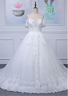 Marvelous Tulle Off-the-shoulder Neckline Ball Gown Wedding Dresses With Lace Appliques & Beadings