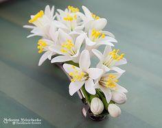 Barrette Fleurs DOrange Polymer Clay Flowers by SaisonRomantique