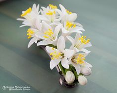 "Barrette ""Fleurs D'Orange"" - Polymer Clay Flowers"