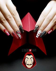 "💅Sandra Parra Nails💅 on Instagram: ""‼️🏦💲LA CASA DE PAPEL💲🏦‼️Coméntanos qué te parecen ⁉️ tenía muchísimas ganas de compartir este trabajo con todos vosotros porque a sido para…"" Dog Nail Art, Dog Nails, Color For Nails, Nail Colors, Trendy Nails, Cute Nails, College Nails, Hippie Nails, Homemade Tattoos"
