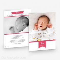 Babykarte Pretty in Pink 15 x 21cm - Dankeskarte.com Pretty In Pink, Banner, Wedding Inspiration, Movie Posters, Thanks Card, Birth, Gifts, Banner Stands, Film Poster