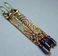 Earrings | FebraRose.  PMC, handmade copper, amethysts and sterling silver ear hooks.