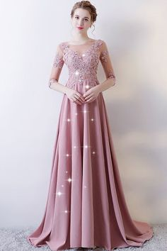 Attractive Chiffon & Tulle Bateau Neckline A-line Prom Dress With Beaded Lace Appliques & Flowers Pink Formal Dresses, A Line Prom Dresses, Beautiful Prom Dresses, Simple Dresses, Evening Dresses, Classy Wedding Dress, Maxi Dress Wedding, Classy Dress, Gaun Dress