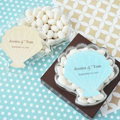 Personalized Seashell Acrylic Favor Boxes by Beau-coup
