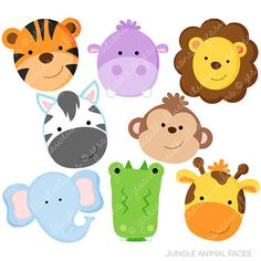 Jungle Animal Faces Cute Digital Clipart by JWIllustrations