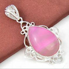 Pink Agate Pendant 925 Sterling Silver Agate Pendant. Gemstone size: 30x23mm. Pendant Length: 2 1/2 Inch Jewelry Necklaces