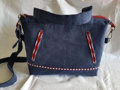 Sac Java bleu marine et rouge cousu par Martine - Patron sac Sacôtin