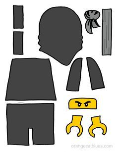 Lego Ninjago printable cutout for toddler gluestick art: The Black Ninja, Cole