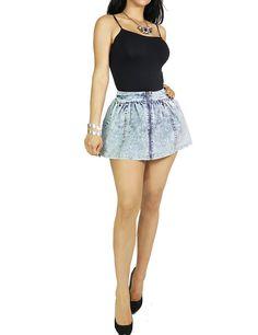 Womens Fashion Denim Zipper Front Closure Sexy Flared Mini Skirt By Fandsway (LARGE, DENIM-SHK046)