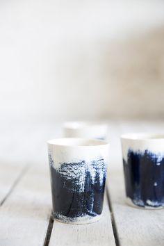 BITZ Espressobecher//Espresso Cups 10 cl Set mit 6 Bechern Steinzeug mit Glasur