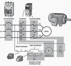 Single Phase Motor Contactor Wiring Diagram | Elec Eng World | w t htay | Pinterest | Diagram