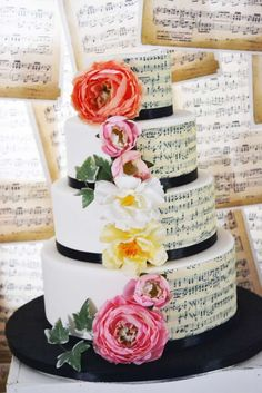 Gorgeous cake at a music themed wedding party! See more party planning ideas at CatchMyParty.com!