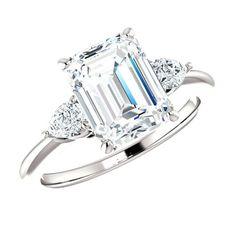 2.80 Carat Emerald Supernova Moissanite & Pear Diamond Ring