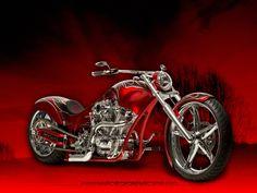 red custom chopper with custom black graphics