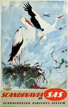 Otto Nielsen was a Danish painter and watercolorist   from 1954 to 1976 also produced a series of beautiful travel posters for Scandinavian Airlines System.