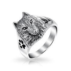 Bling Jewelry Sterling Silver Wolf Head Black Paw Print Howling Silhouette Ring with Free Engraving. Wolf Face Ring. 925 Sterling Silver, Enamel. 3mm Band Width. Measures: 3mm Band Width, Wolf .60in L x .50in W. Items ship in 4 days - no returns or exchanges on engraved items.