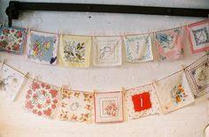 Cute bunting idea for display : vintage hankies