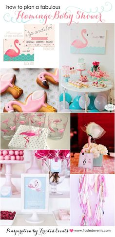 Fabulous flamingo theme baby shower inspiration board via Frosted Events @frostedevents   Pink flamingo party, pink and mint, pink and gold   ideas and inspiration, flamingo invitations for baby girl, flamingo decorations, flamingo dessert table, flamingo printables