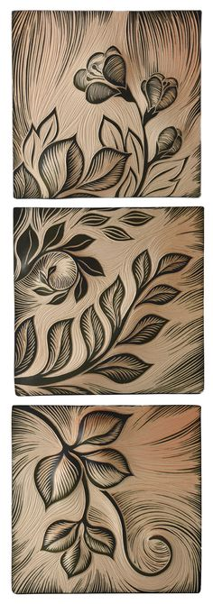 Hand-carved sgraffito tiles, great for making a statement on your walls. Shino Botanical Triad 2 by Natalie Blake. Ceramic Wall Sculpture available at www.artfulhome.com