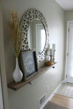 "this can be for the ""hall way"" in the entry way- mirror good idea, also add chalk board of all of our names and birthdays plus a candle and a plant"
