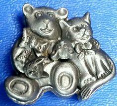 Torino Pewter Cat Teddy Bear Jewelry Set Pin,Earrings,Necklace & Trinket Box 3D  #Torino