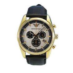 AR6006 Emporio Armani Sportivo Men Watch Black Leather Gold Tone Chronograph