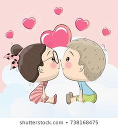 Illustration about Cute Cartoon boy and girl are kissing on a cloud. Illustration of family, isolated, celebration - 94031016 Cartoon Kiss, Cute Cartoon Boy, Boy And Girl Cartoon, Couple Cartoon, Boy Or Girl, Valentines Day Drawing, Hubby Birthday, Cute Kiss, Birthday Cartoon