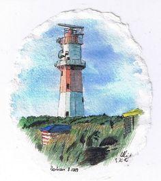 Leuchtturm am Südstrand von Borkum, aquarellcolorierte Tuschezeichnung.   Miniatur 8x10cm auf ovalem, handgeschöpftem Bütten.