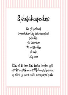 sjokoladecupcakes oppskrift Cupcakes, Sweets, Baking, How To Make, Goodies, Cupcake, Bakken, Backen, Cupcake Cakes