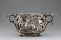 Cup with Centaurs (detail), Roman, A.D. 1-100; silver and gold at the Getty.  https://www.facebook.com/LegionofHonor/videos/10153258073198907/?fref=nf