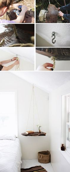 DIY hanging bedside table. Beautiful!