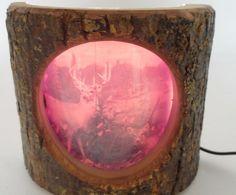 1950s Rustic Cabin Lodge Branch Cedar Wood Bark Slice Deer Family Light Lamp