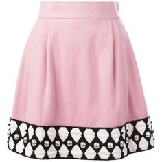 Olympia Le-Tan Embellished Hem a-Line Skirt ($1,531) ❤ liked on Polyvore featuring skirts, olympia le-tan, wool a line skirt, a line skirt, pink skirt and wool skirt