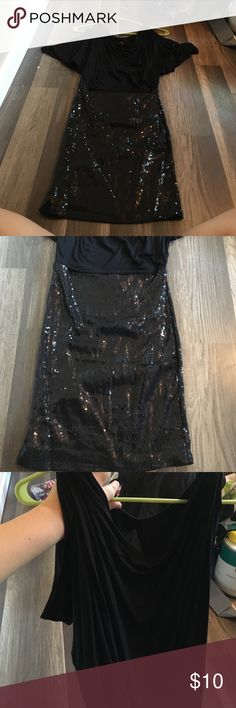 Black sequin mini dress! Top part is flowy with peekaboo shoulders and a cut out back, bottom is fitted and sequin! Worn once perfect for clubs or parties! Size small Dresses Mini