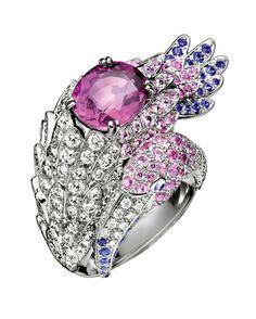 | BOUCHERON Flamingo Ring-White gold,big Pink Sapphire,Light Blue,Pink and Purple Sapphires pavé & Diamonds.