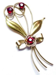 VINTAGE 1940s signed HARRY ISKIN 2-TONE 12K GOLD FILLED GARNET FLORAL BROOCH PIN #HARRYISKIN