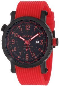 red line Men's 18003-BB-01RD Compressor Black Dial World Time Red Silicone Watch Red Line. Save 90 Off!. $59.99. Quartz movement. Date function at 3:00. Mineral crystal; black ion-plated stainless steel case; red silicone strap. Water-resistant to 100 M (330 feet). Black dial with red hands and Arabic numerals; luminous; black ion-plated stainless steel coin edge outer bezel and world time rotating inner bezel with black accent; black ion-plated stainless steel crown with red accent