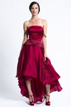 https://www.cityblis.com/10898/item/14645   Red Satin Silk Organza Strapless Dress - $800 by Jessica Barkley   Evening Dress perfect for a bridesmaid or maid of honor or for PROM! It is also a great special occasions dress which you will keep forever.   #Dresses
