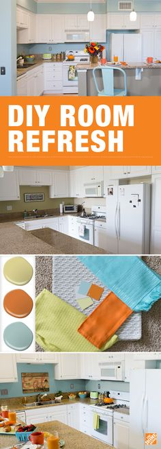 With BEHR paint, a new look is very achievable. Refresh any room with a simple step-by-step DIY tutorial. We'll walk you through coordinating a color palette and executing it in your own space in just six easy steps. Kitchen Redo, Kitchen Design, Kitchen Colors, Kitchen Ideas, Style Cottage, Interior Decorating, Interior Design, Decorating Ideas, Decorating Kitchen