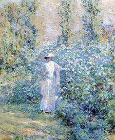 Robert Reid (American 1862–1929) {Impressionism, Muralist] In the Flower Garden, c. 1910.
