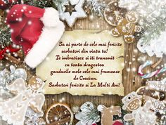 Felicitare de Craciun sub forma de scrisoare Christmas And New Year, Merry Christmas, Christmas Decorations, Christmas Ornaments, Holiday Decor, Birthday Cards, Happy Birthday, Holidays And Events, Christmas Stockings