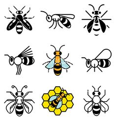 Logo icons bee vector 1541101 - by andegra on VectorStock®