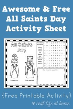 Looking For A Printable With Activities All Saints Day This Activity Sheet Is Fun Free Perfect To Use Children